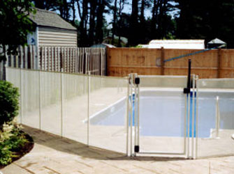 pool fence in white color