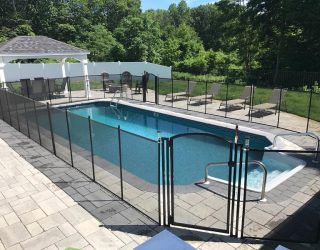 100ft black removable mesh pool fence Bedford Hills, NY