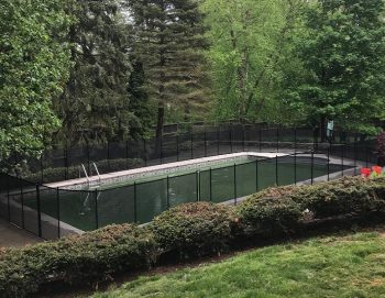 100ft installed black pool fence Pleasantville, NY