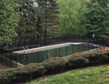100ft installed black pool fence Pleasantville, NY