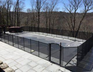 105ft black pool fence installed Bridgewater, CT