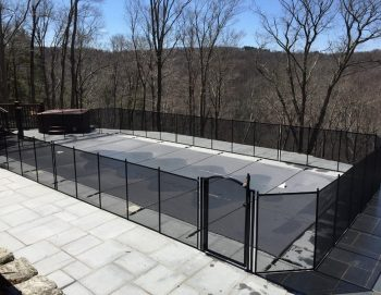 105ft black pool fence installed Bridgewater, CT