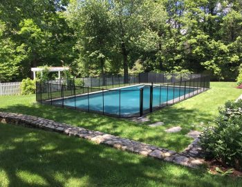 110ft black mesh pool fence installation Easton, CT
