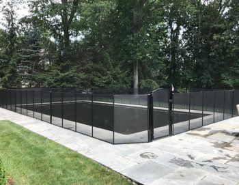 110ft black pool fence installed in Chappequa, NY