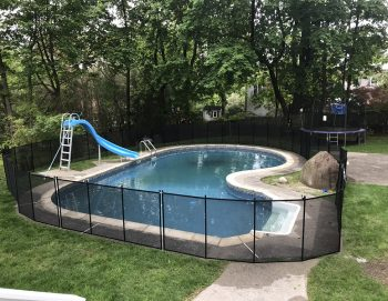 90ft black pool fence installed in Dobbs Ferry, NY